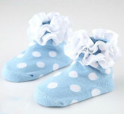 41ff166ab Fashionable Light Blue Polka Dots Anti Slip Newborn Baby Socks in ...