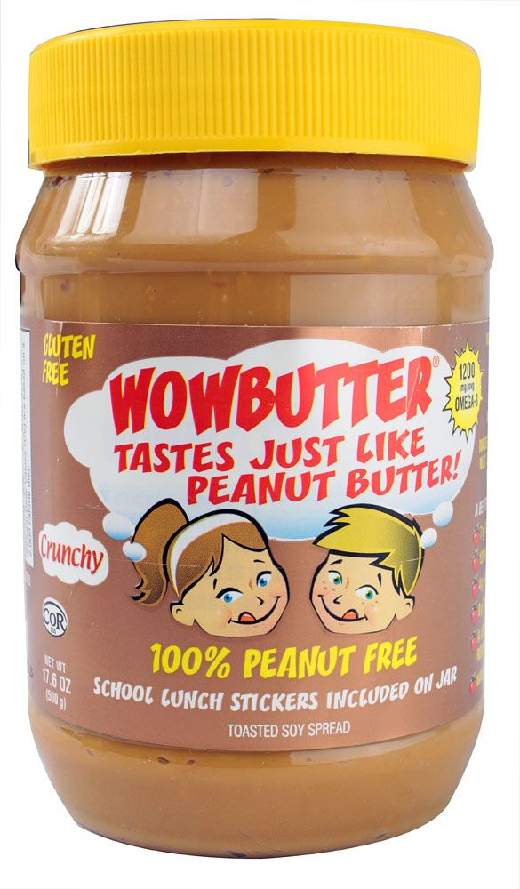 We're testing out Wowbutter, a crunchy soy spread as a substitute to peanut butter. Gluten free and made in a peanut, nut, dairy, and egg free facility.