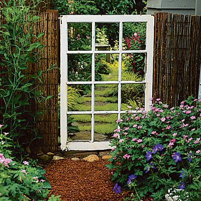 Old window used as a unique cottage garden gate.  I LOVE THIS! I'd have to glass panes in there so Bobo wouldn't escape!