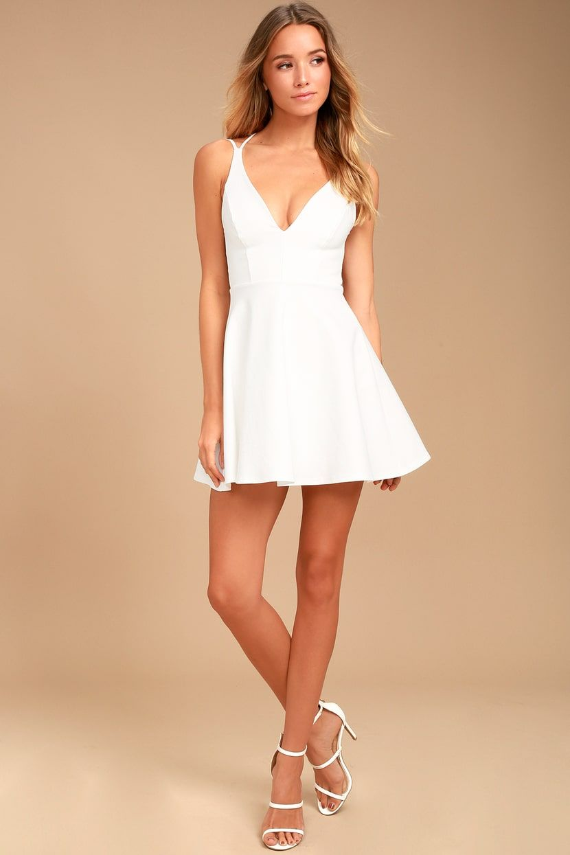 84b8433ec53 Believe in Love White Backless Skater Dress