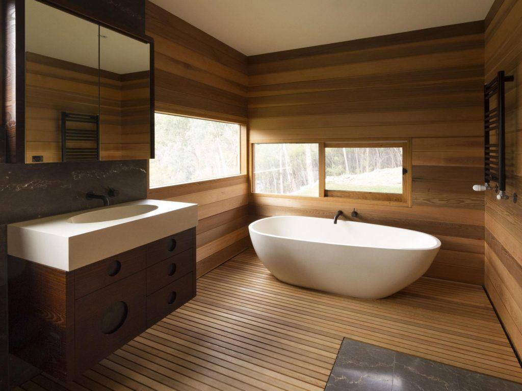 image result for wooden cladding modern bathroom  wooden