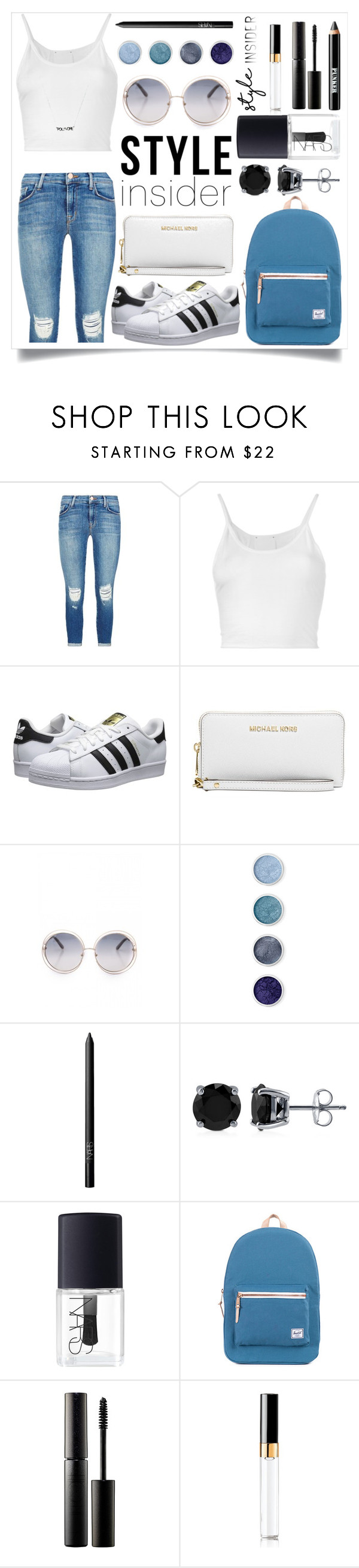 """""""Simple Style"""" by iredud16 ❤ liked on Polyvore featuring J Brand, Lost & Found, adidas Originals, Michael Kors, Terre Mère, NARS Cosmetics, BERRICLE, Surratt, Chanel and Ardency Inn"""