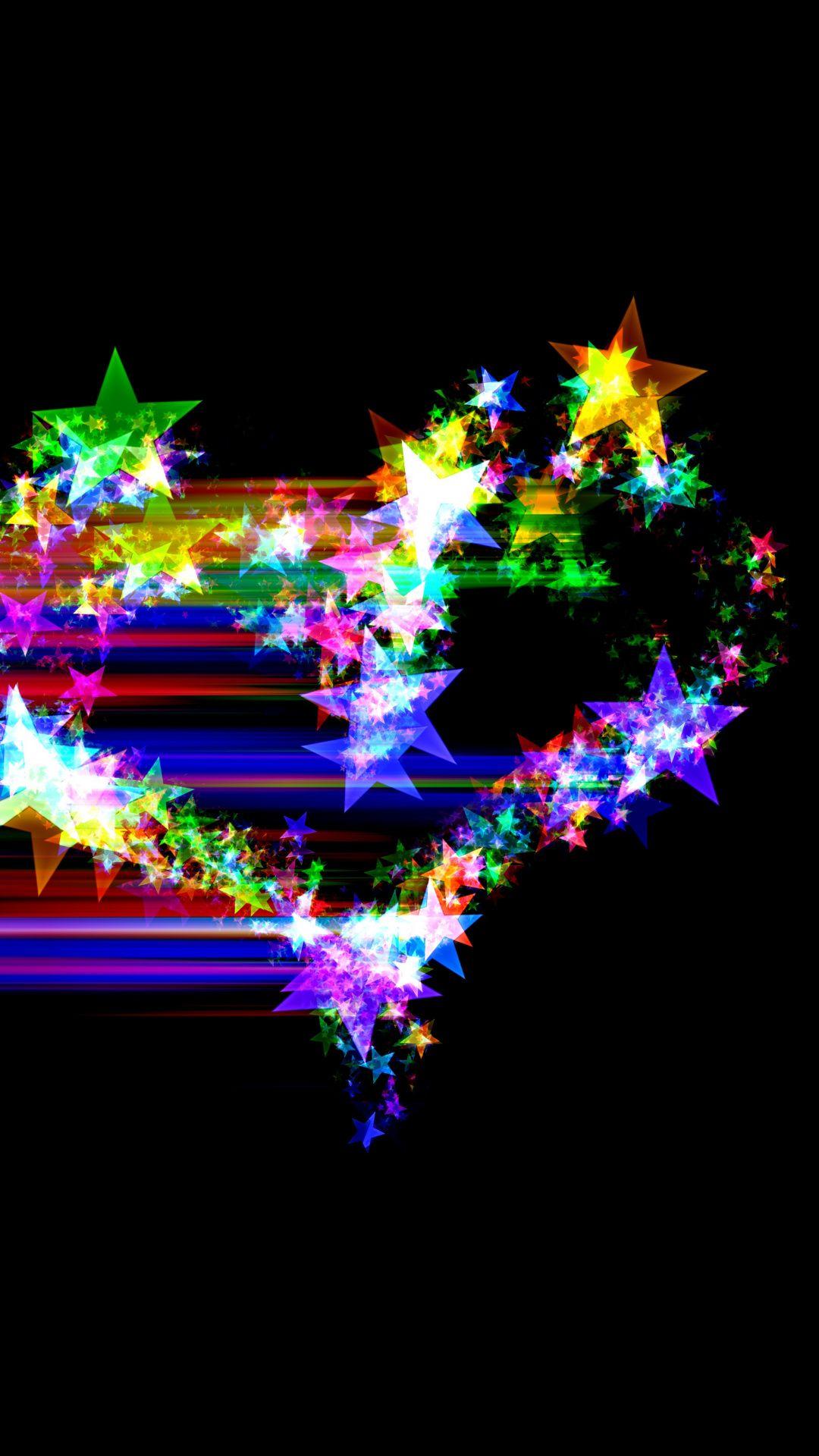 Colorful Heart Stars Glitter Dark Abstract Wallpaper