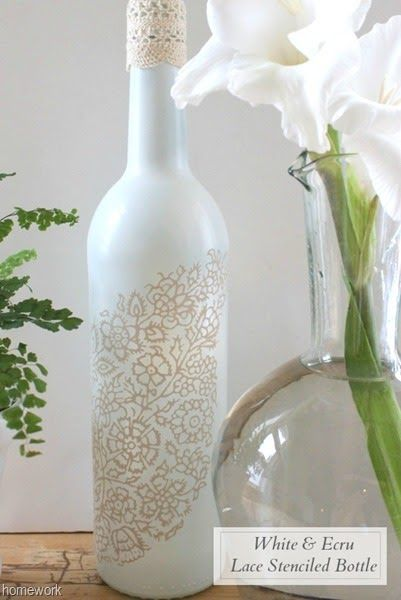 White & Ecru Lace Stenciled Bottle