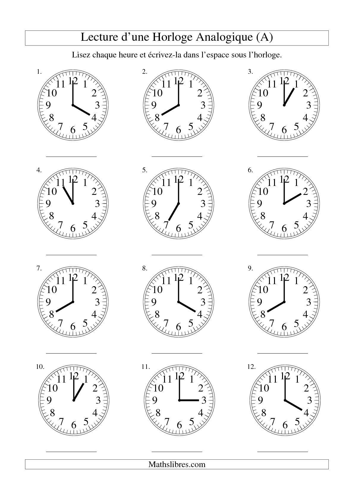 Lecture de l 39 heure sur une horloge analogique avec 60 for Connaitre ses heures creuses