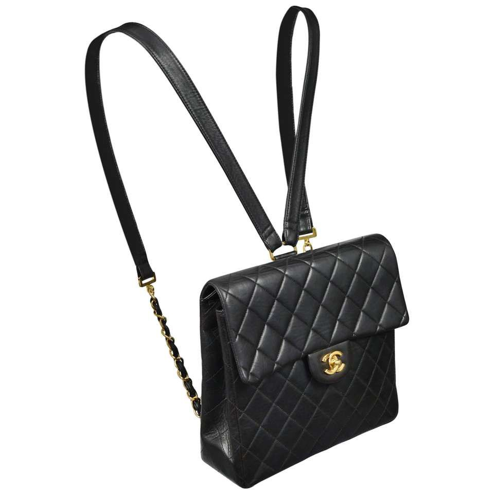 ad80bba56d0b Unusual Chanel Square Quilted Black Leather Backpack Bag With Chain Straps 1