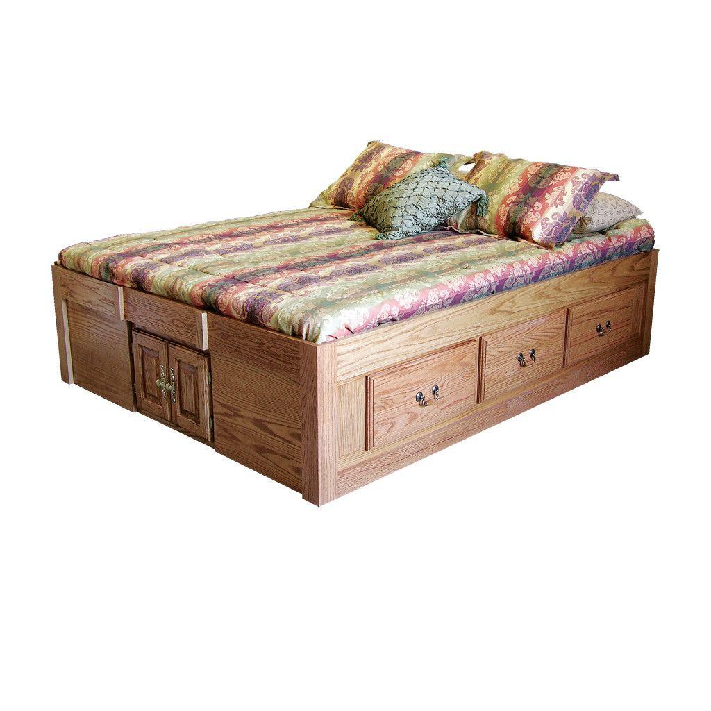 Fd 3021t Traditional Oak Pedestal Bed With 6 Drawers Queen Size Queen Platform Bed Platform Bed Designs Upholstered Platform Bed