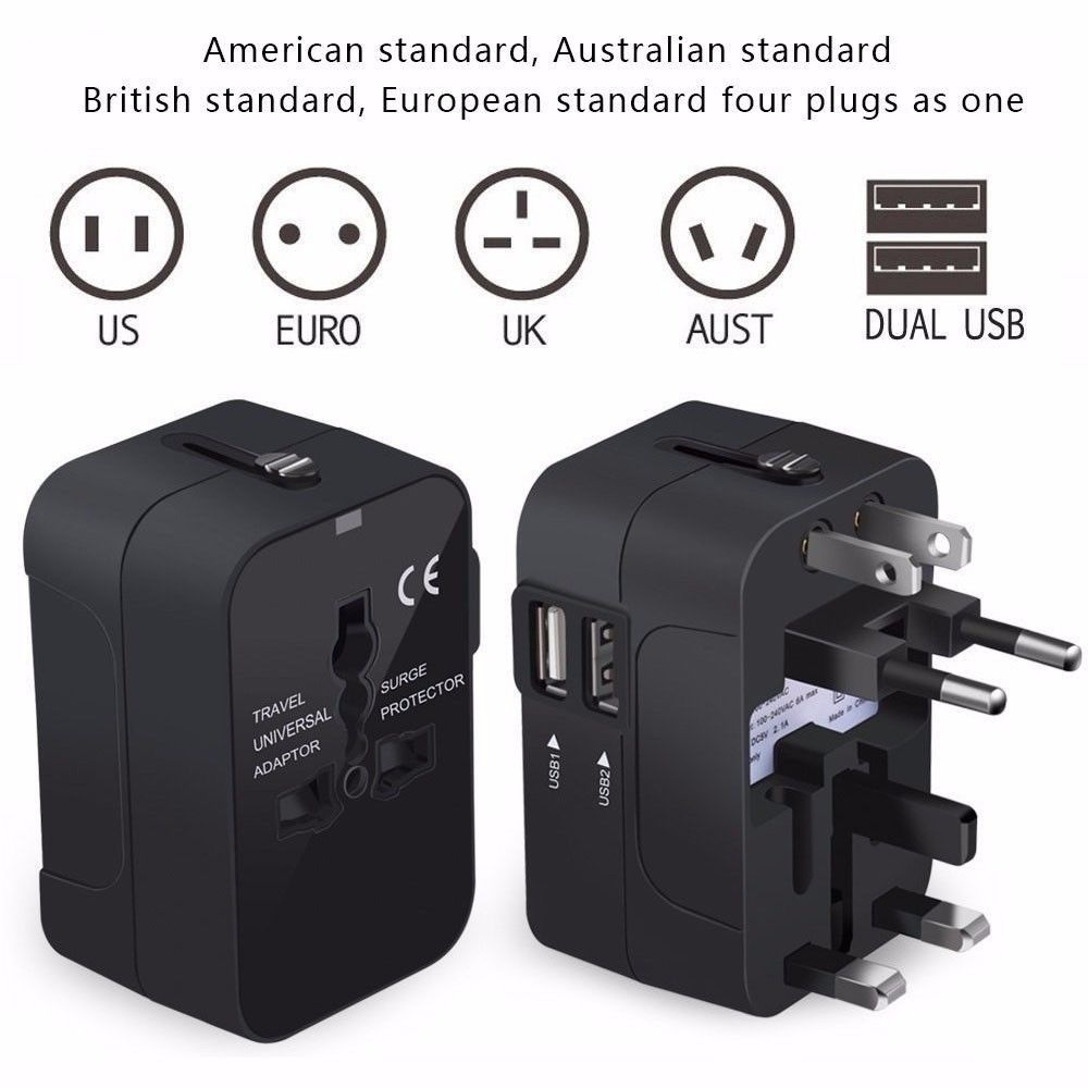 Worldwide All in One Universal Travel Adapter Wall Charger AC Power Plug Adapter with Dual USB Charging Ports for USA EU UK AUS Travel Adapter White