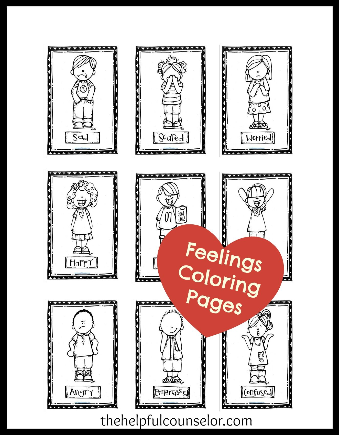 Feelings Coloring Pages Newsletter Freebie • | Pinterest | Feelings ...