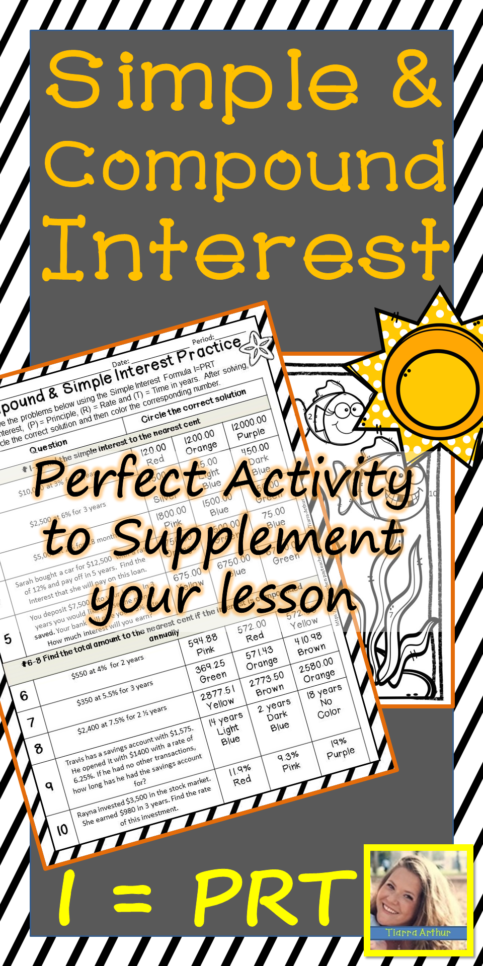 This Simple And Compound Interest Activity For Middle School Math Will Be A Fun Game To Play For 7th Grade S Teaching Blogs Teaching Techniques Simple Interest