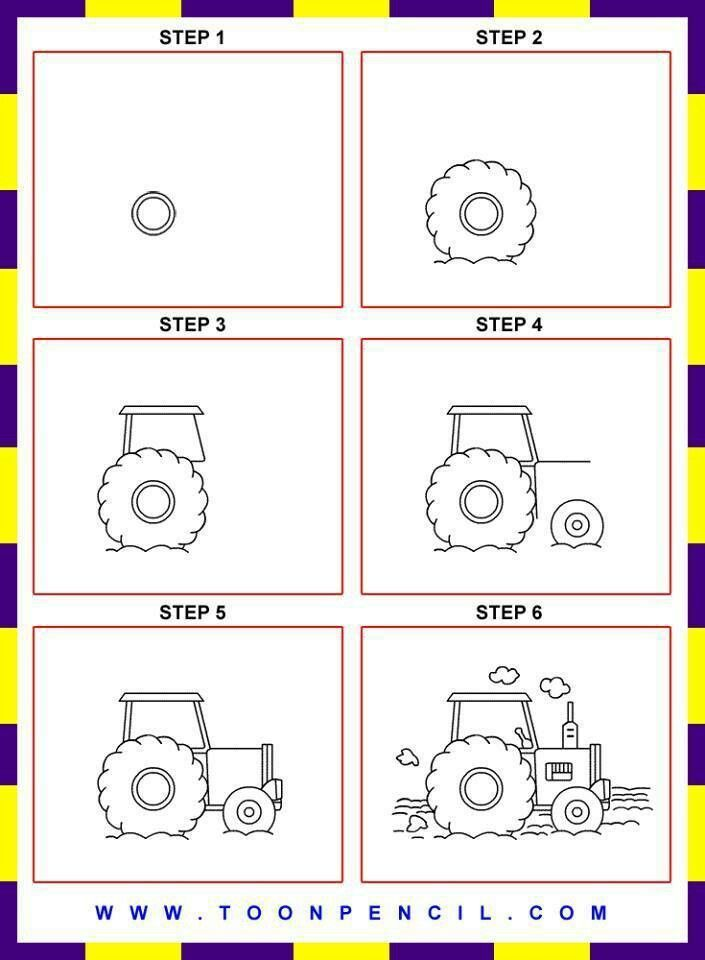 Drawing Man On Tractor : How to draw a tractor man made things