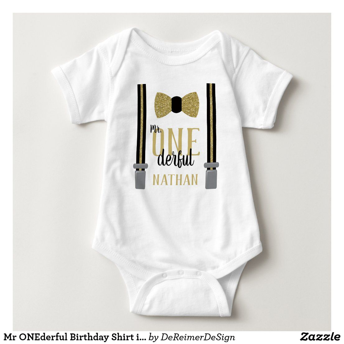 Mr onederful birthday shirt in black and faux gold in 2020