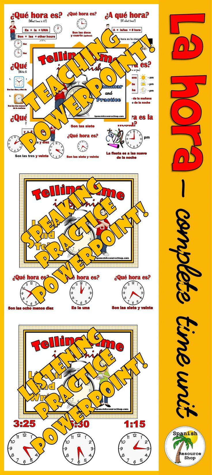 Workbooks spanish present tense practice worksheets : Telling Time in Spanish Value Pack | Teaching spanish, Spanish and ...