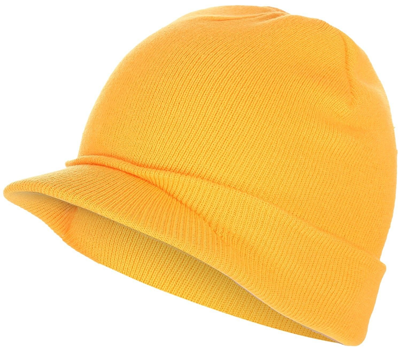 e3423c9723f Visor Beanie Knit Hat With Brim newsboy Hats Winter Cap For Men Women -  Yellow -