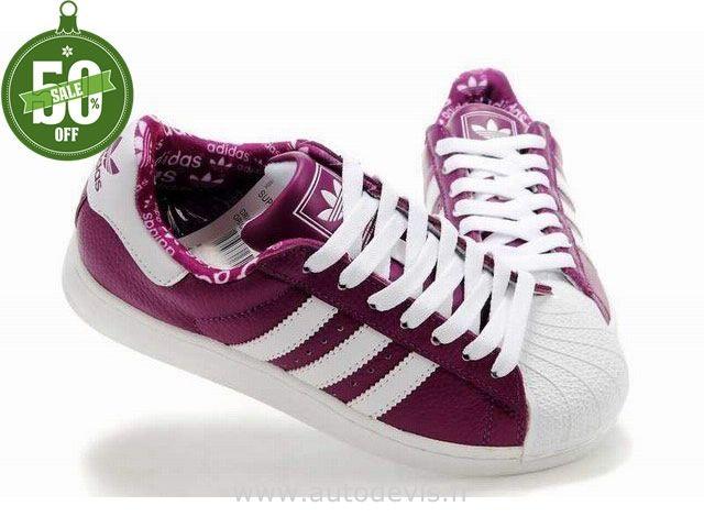 Hommes Adidas Superstar II Chaussures En Cuir Blanc Violet Foncé
