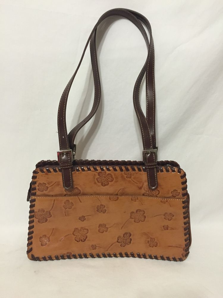 M C Marc Chantal Tooled Leather Purse Hand Bag Western Four Leaf Clover