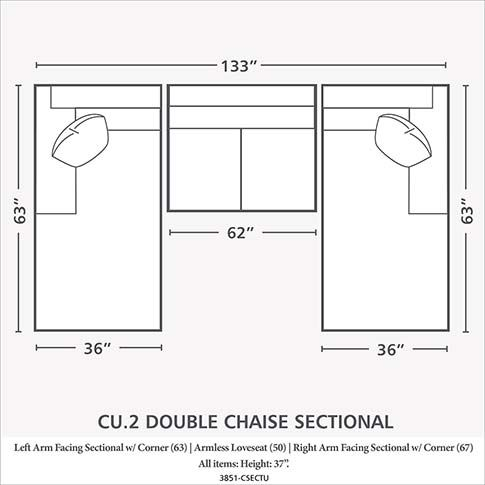 Double Chaise Sectional Bassett Double Chaise Sectional Double