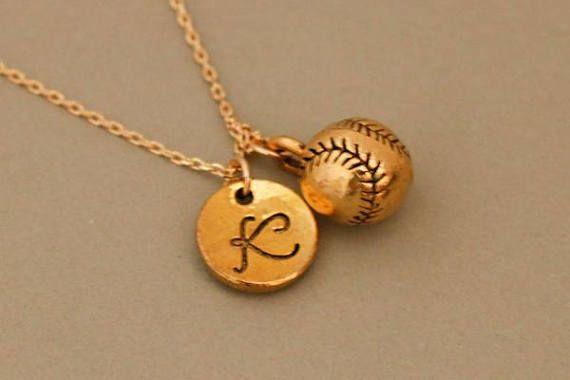 Gold Baseball necklace for Mom Baseball necklace for her baseball