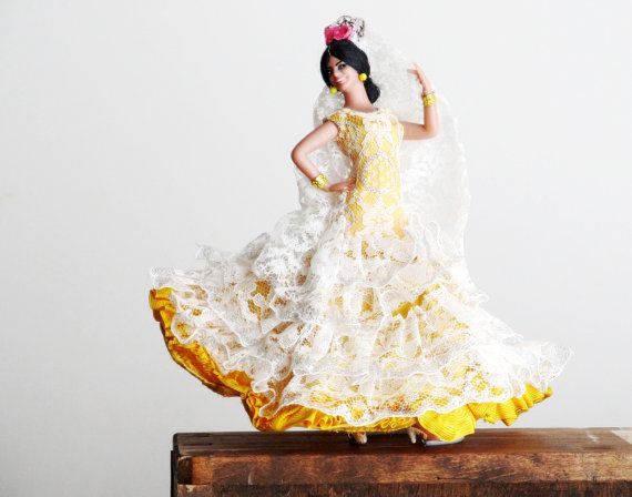 Vintage Flamenco Doll, Spanish Doll with Original Clothing, Yellow and White, Fandango Dancer, Marin Fiesta, Collectible Toy #spanishdolls