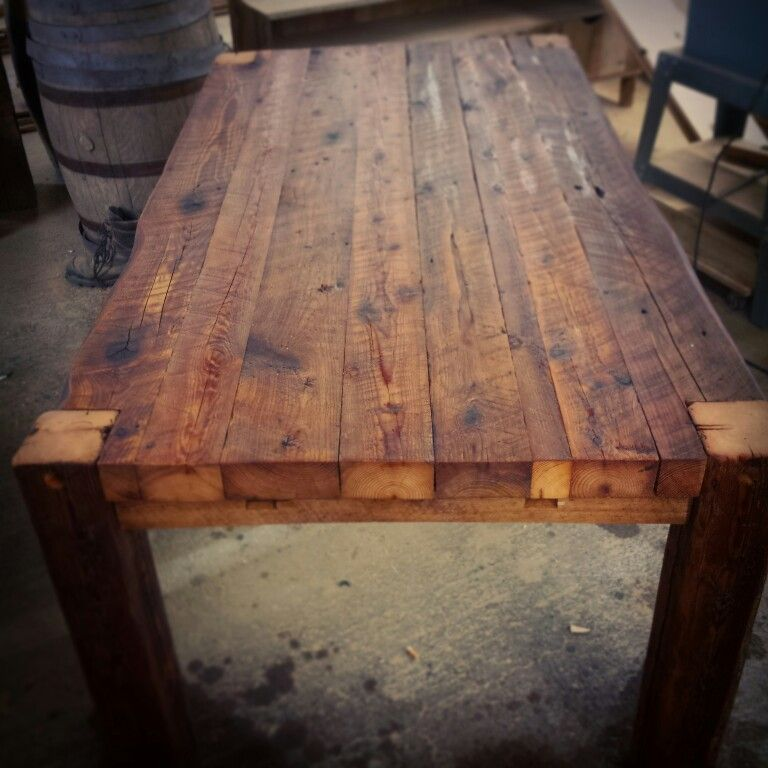 Table de cuisine en bois de grange massif de 3po d 39 paisseur sign rustik bois de grange b - Table de cuisine en bois massif ...