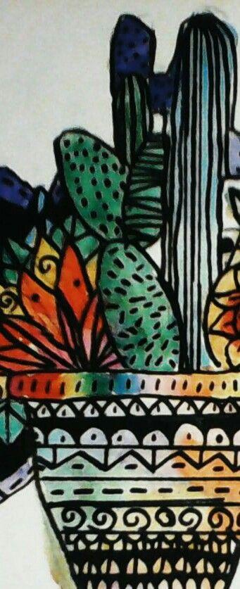 Hola,hoy he hecho este dibujo de unos cactus de colores 🌵🌵🎨🎨🏜🏜