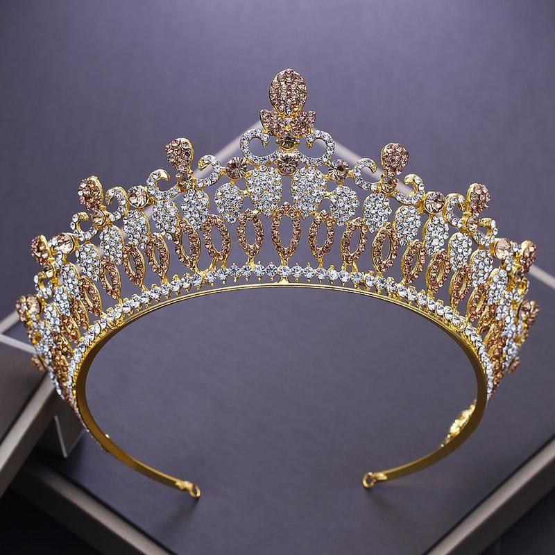 Baroque Golden Crystal Queen Rhinestone Crown Tiara Gold Wedding Tiara Hair Jewelry Wedding Bridal Jewelry