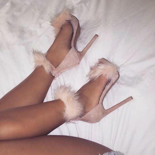Fluffy heels, Pink dress shoes