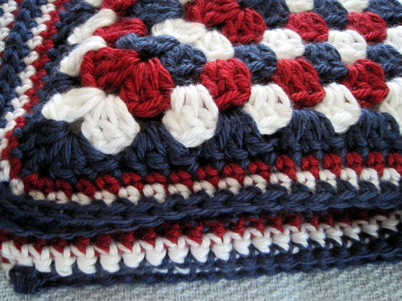 Crochet baby blanket red white blue granny square childs afghan ...
