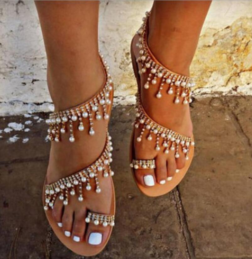 b43a9e924 Shoes - 2018 Fashion Summer Pearl Leather Handmade Chic Sandals – Kaaum