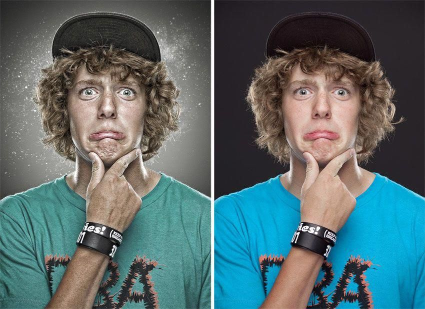 Photo retouching after before. photo