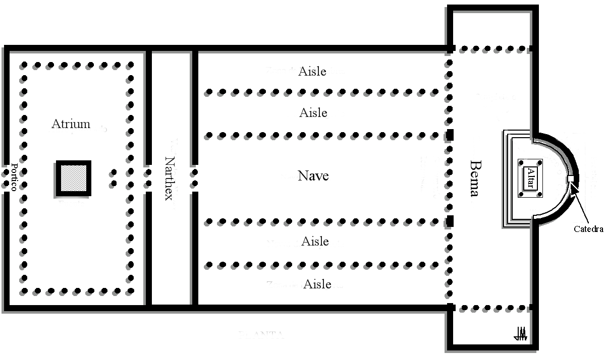 old st peters basilica plan showing atrium courtyard narthex vestibule central nave with double aisles a bema for the clergy extending into a  [ 1199 x 702 Pixel ]