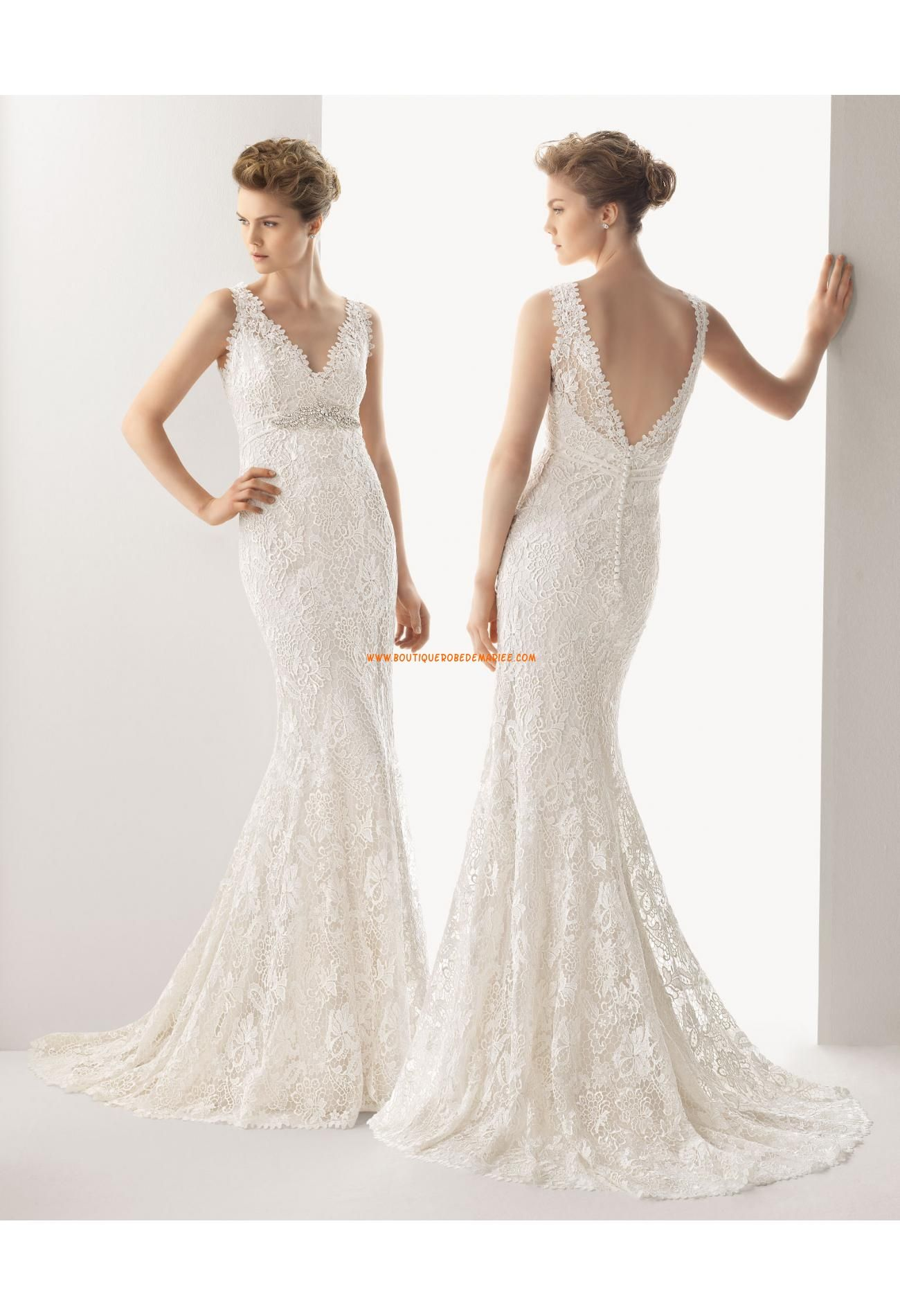 Wedding dress under 500  Robe de marie col V dentelle perles sirne  new bridal gowns