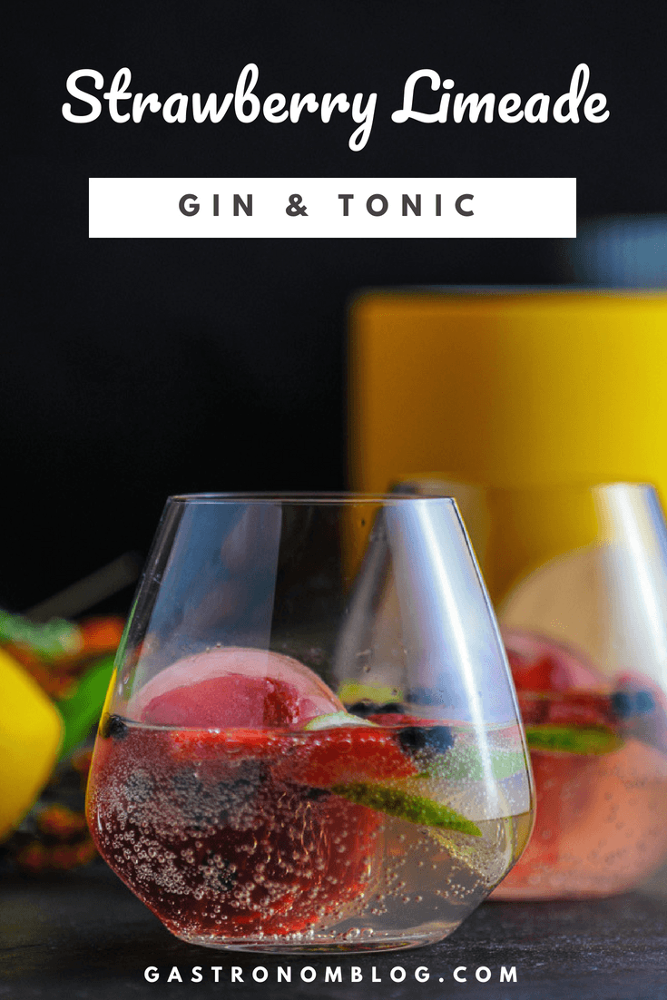 Strawberry Limeade Gin and Tonic Cocktail - A Summer Drink #bestgincocktails