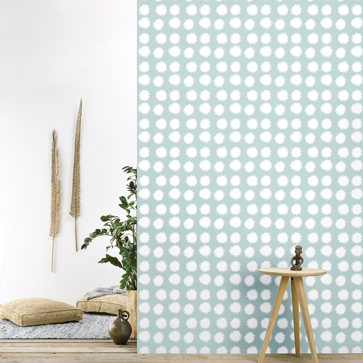 Roomblush behang wallpaper fluff softblue behangpapier woonkamer ...