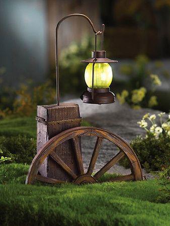 Outdoor Garden Decor Path Light Wagon Wheel Photo Picture Image On Use