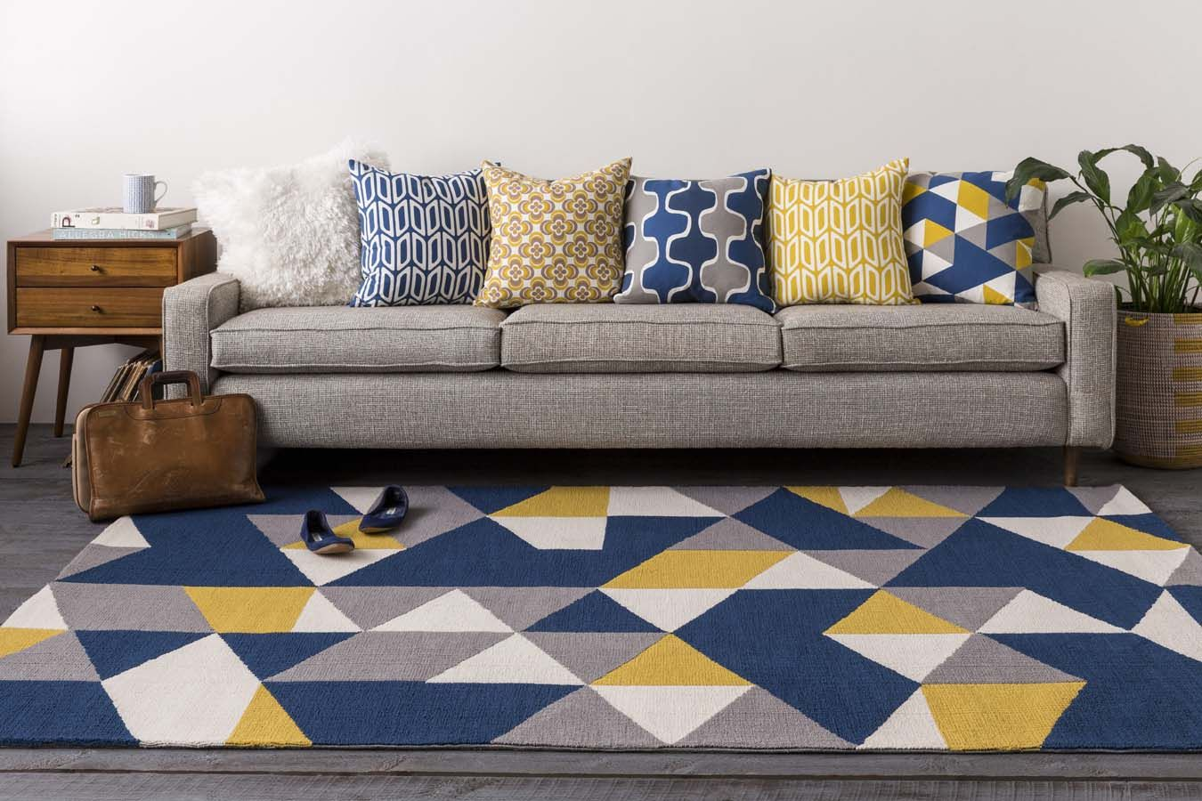 Handmade Twined Rug Blue Yellow And White Woven Cotton Mat