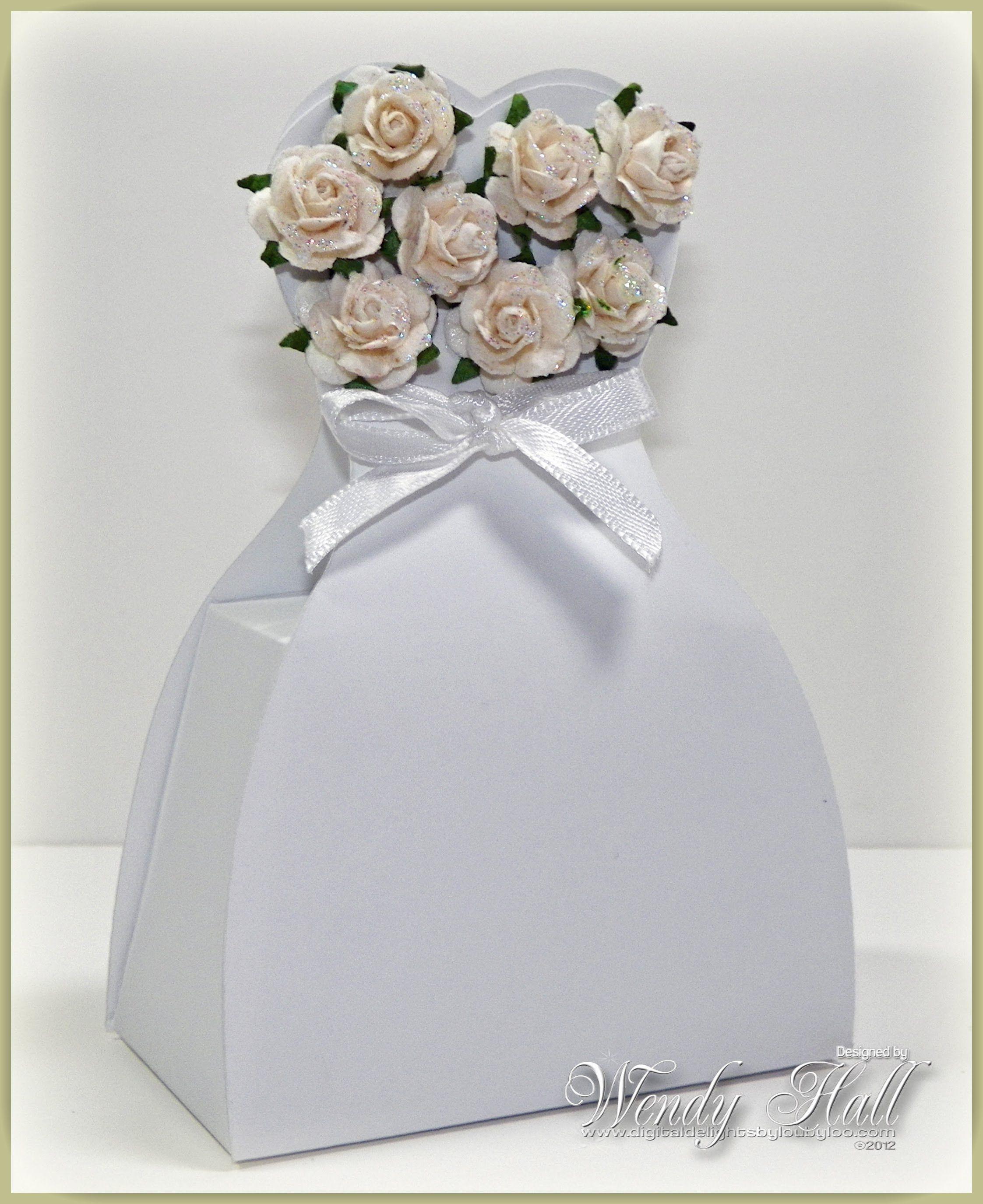 Tutorial To Make A Wedding Dress Favor Box Using Svg Cut File Or