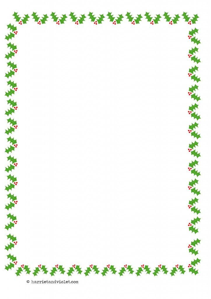 Christmas Holly Border Paper A4 Portrait Plain Half Lined and Lined - lined border paper