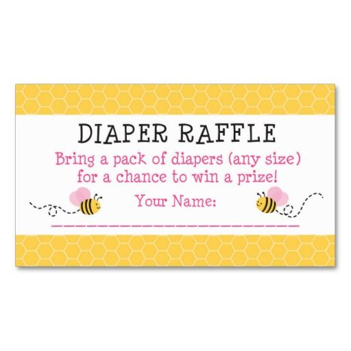 Pink Bumble Bee Diaper Raffle Tickets Business Card Template