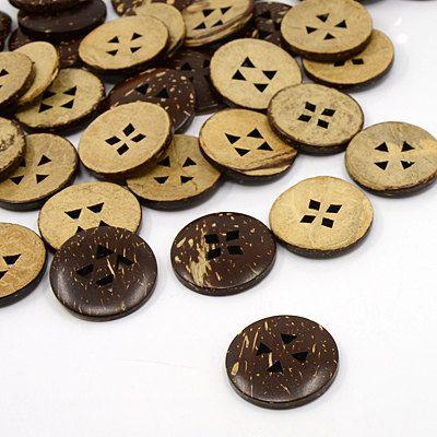 24 pcs Coconut Buttons, 25mm, 4 hole