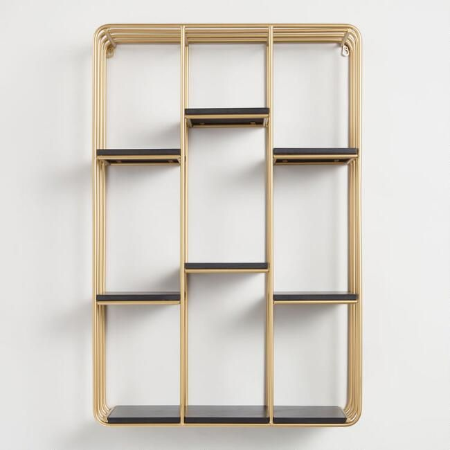 This Gilded Wall Shelf With Rounded Edges And A Staggered Design Is Stylish Statement Maker For Any Room In Your Home