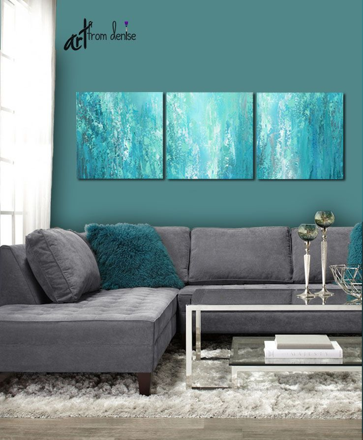 3 Piece Wall Art Canvas Abstract Multi Panel Teal Wall Art Etsy Teal Living Rooms Teal Bedroom Decor Teal Gray Bedroom