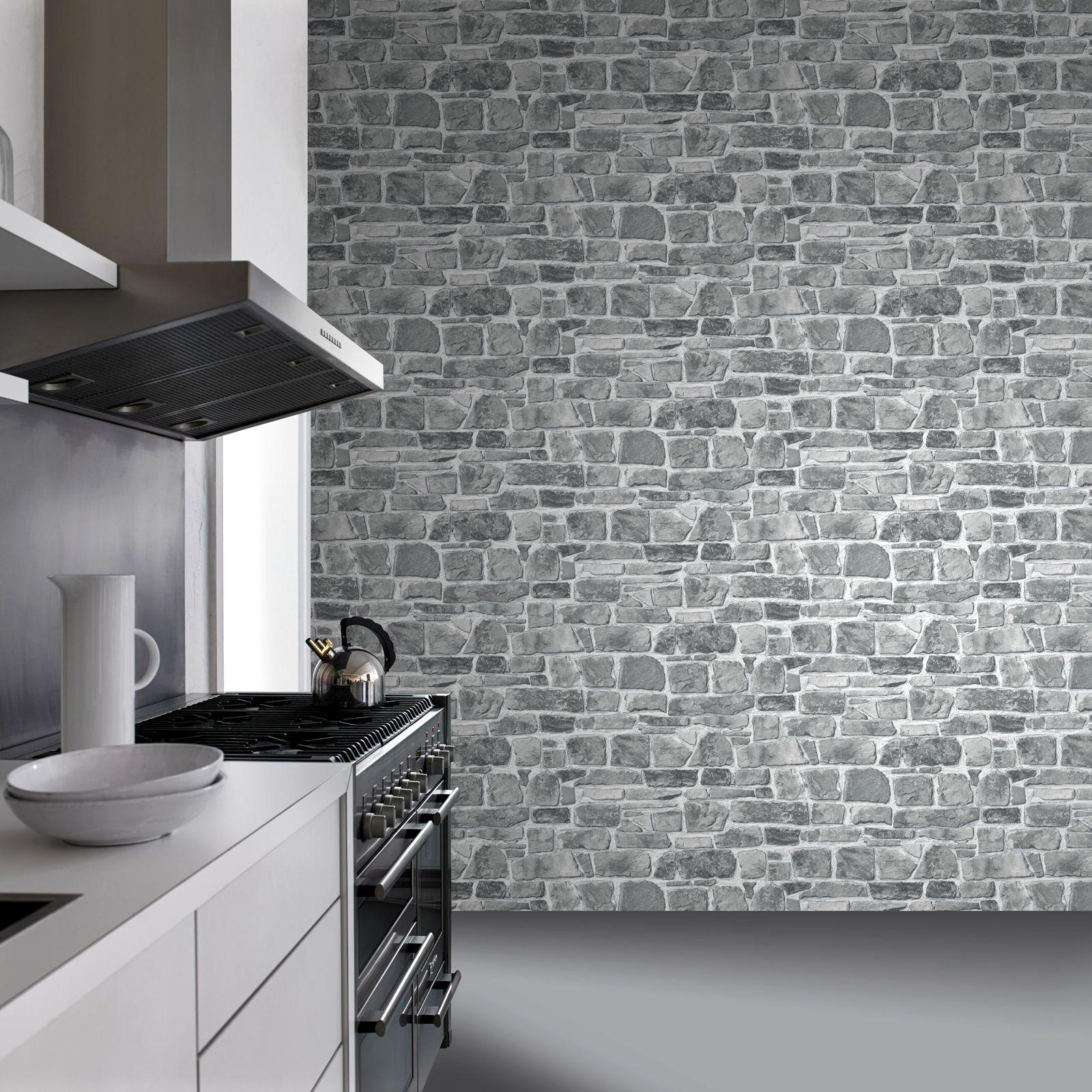 8 95 Gbp Grey Stone Wall Wallpaper Rasch 265620 Feature Wall