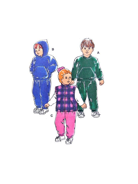 1996 Kwik Sew 2547 Toddlers\' Pullover Jackets with Optional Hood ...