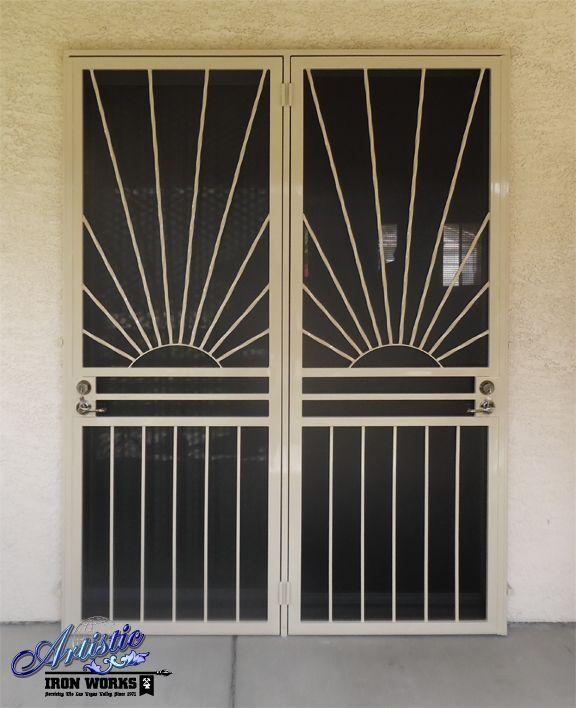 Wrought iron security screen patio door - double sunrise & Wrought iron security screen patio door - double sunrise | doors ...