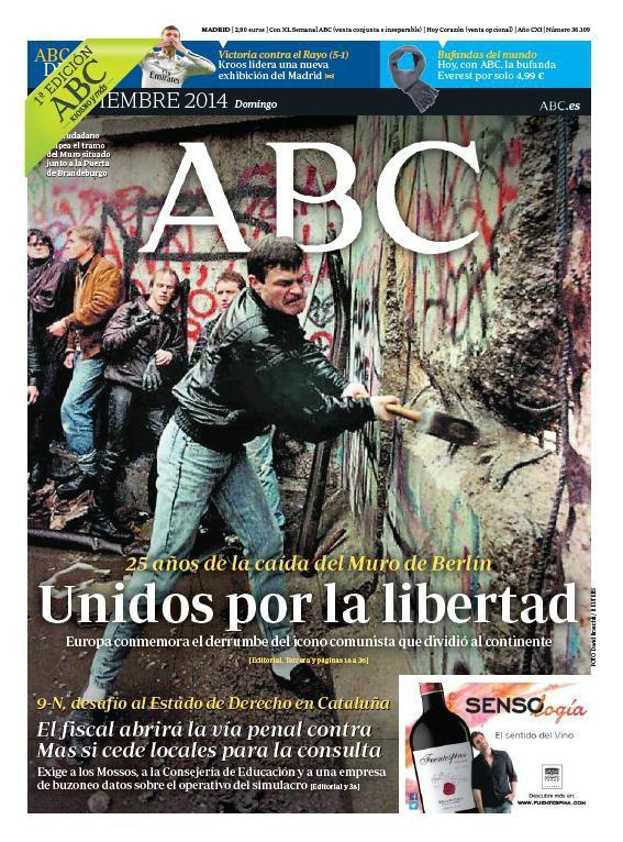 La portada de ABC del domingo 9 de noviembre