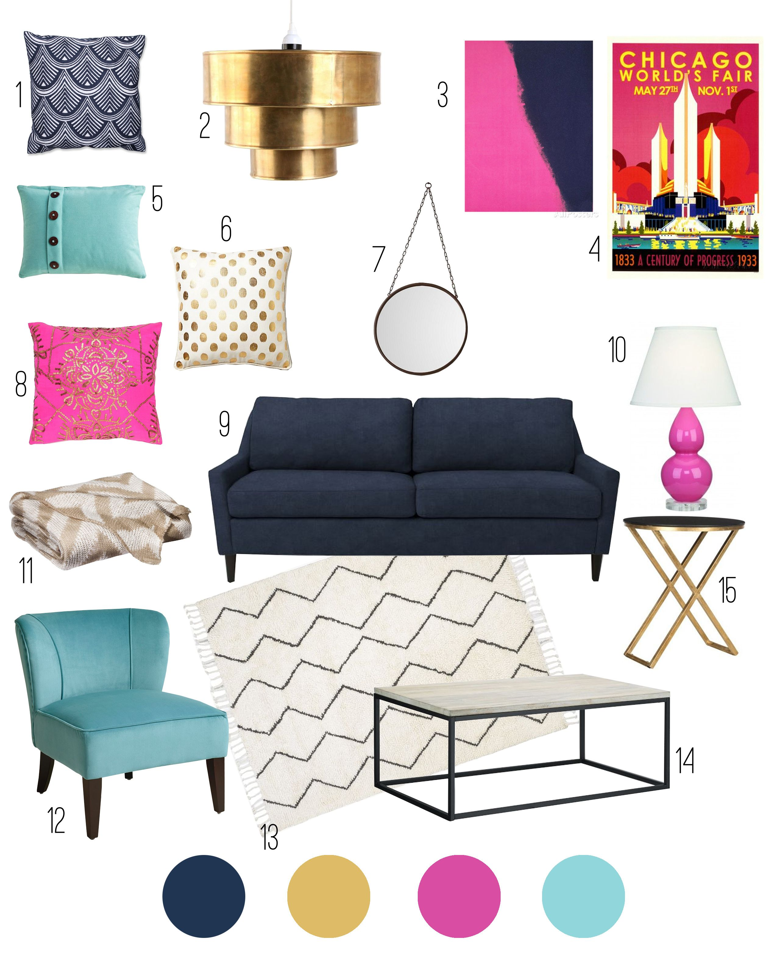 Aqua And Pink Bedroom Ideas: Color Inspiration: Navy, Aqua, Pink And Gold
