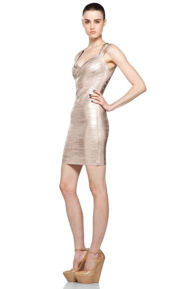 Herve Leger Rose Gold Dress