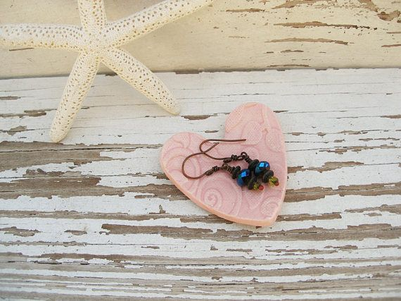 Pink Ring Dish Small Rustic Heart Jewelry Holder Ceramic Bridesmaid Gift Pill Teabag