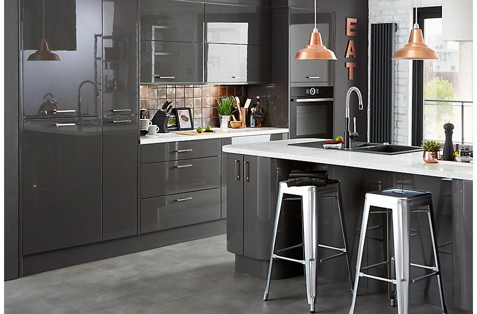 Give ultra modern kitchens an extra lift with metallic for High gloss grey kitchen cabinets
